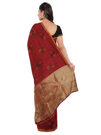 Kathana Fancy Dupion Art Silk Cut Work Saree