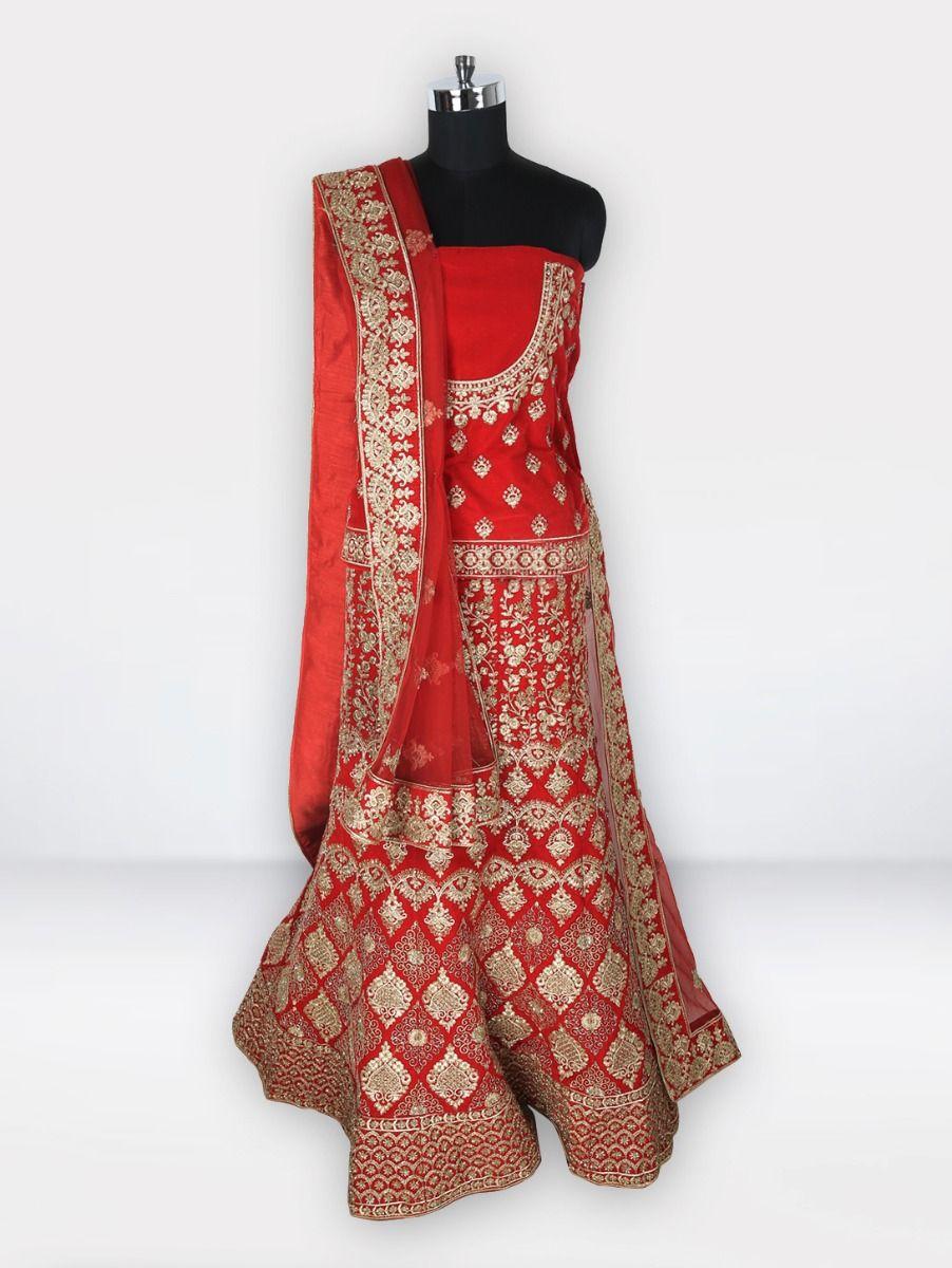 Embroidered Net Lehenga Style Embellished Saree-MGC0438167