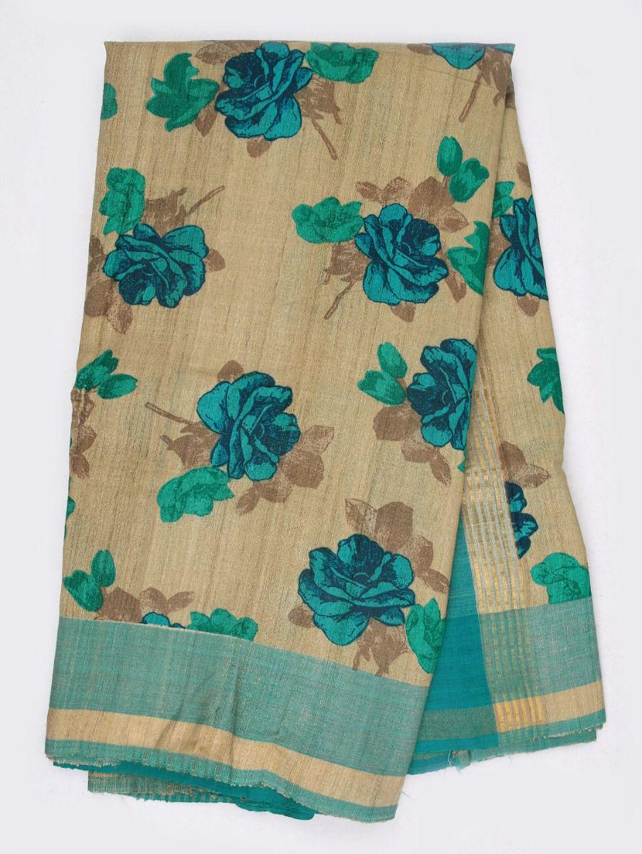 Kyathi Printed Dupion Pure Tussar Silk Saree