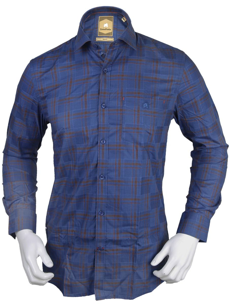 Zulus Festin Men's Formal Full Sleeve Satin Cotton Shirt - TUPMEB2117317