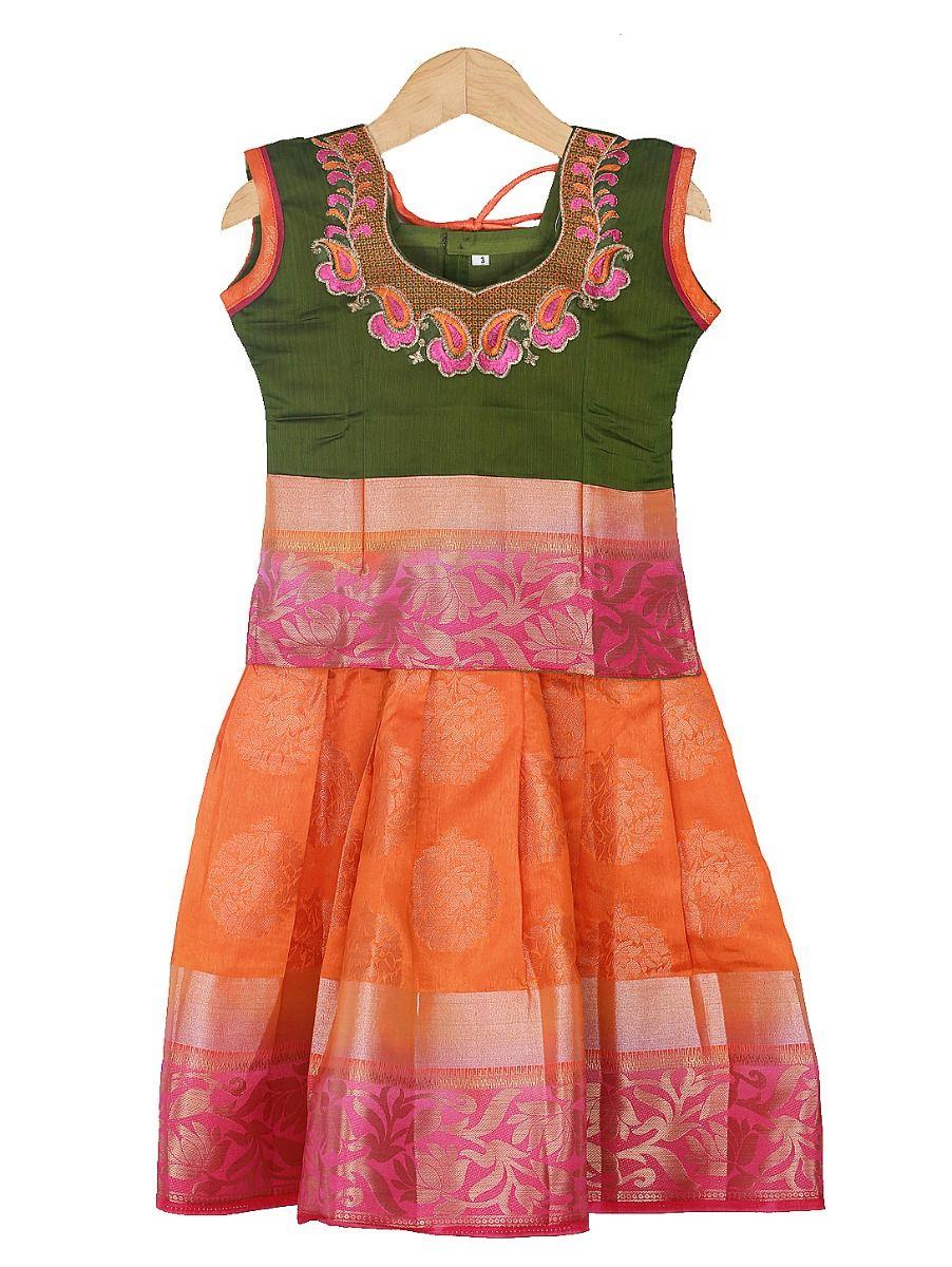 Girls Ready Made Art Silk Pavadai Set - 85ONLGPP5013