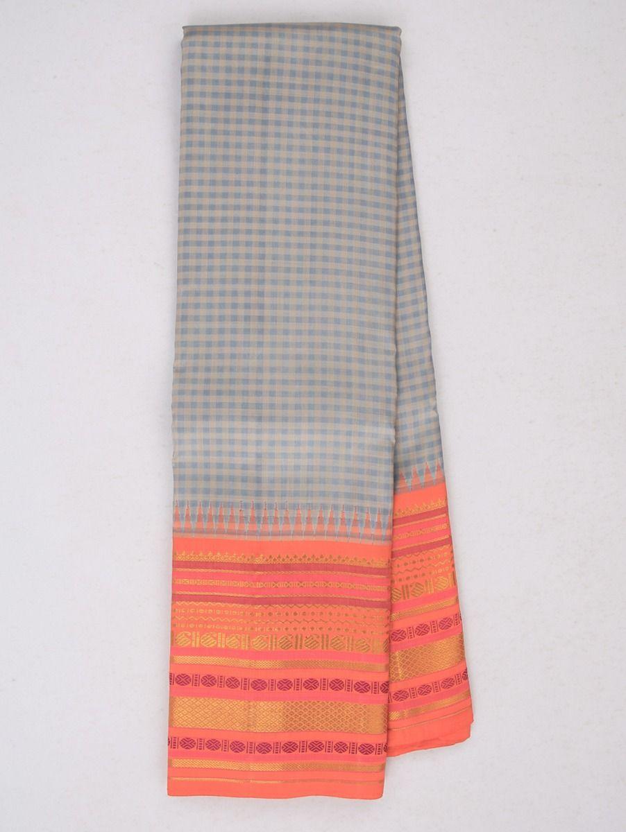 Estrila Exclusive Bridal Small Checks Handloom Kanchipuram Silk Saree