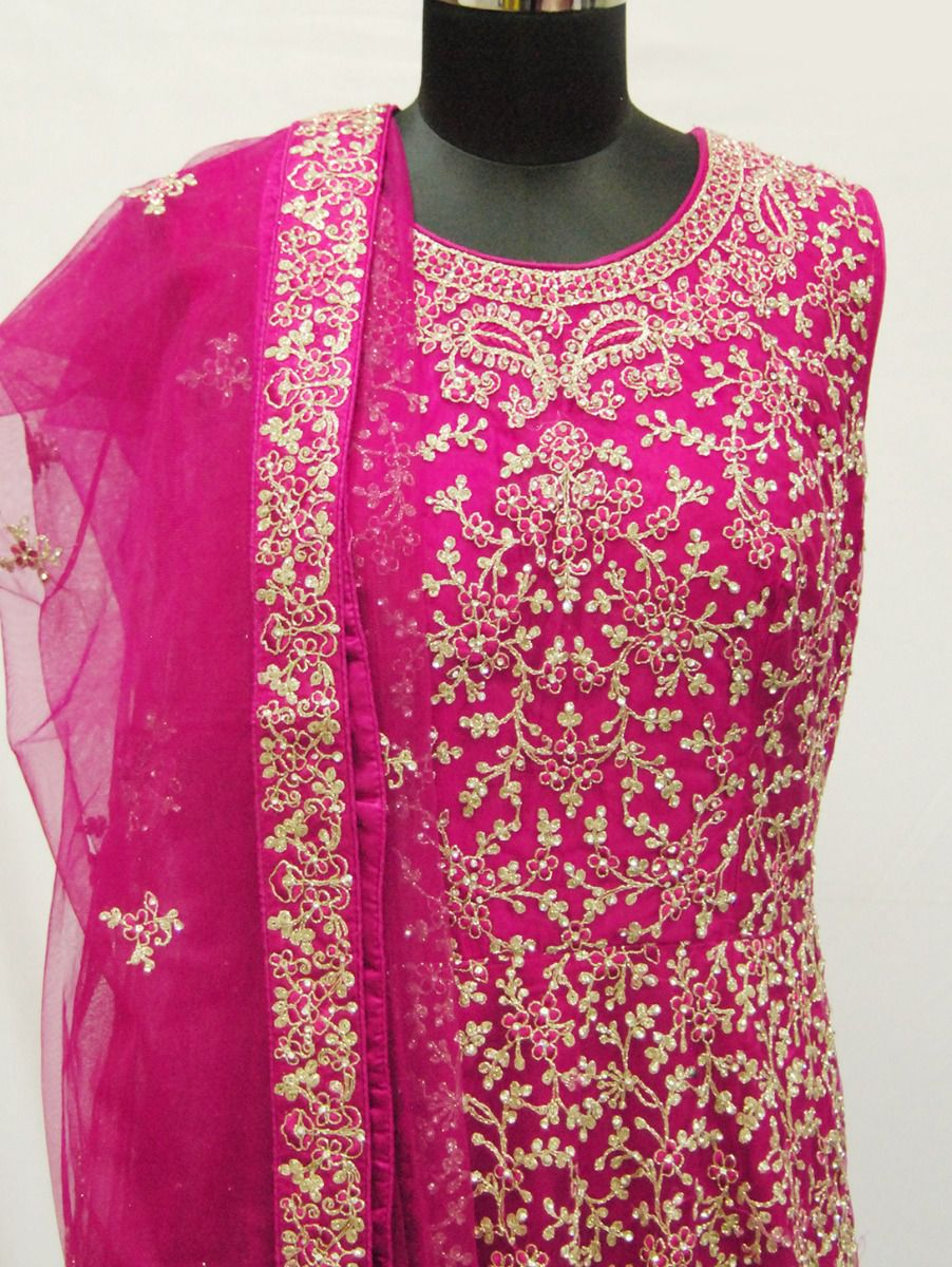 Kyathi Exclusive Stone Work Embroidered Party Wear Gown With Shawl