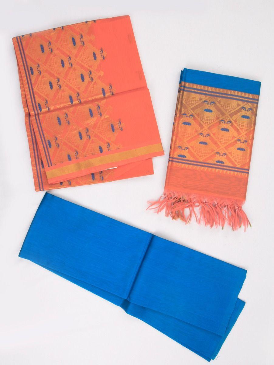 Kyathi Exclusive Kora Cotton Dress Material With Zari Work
