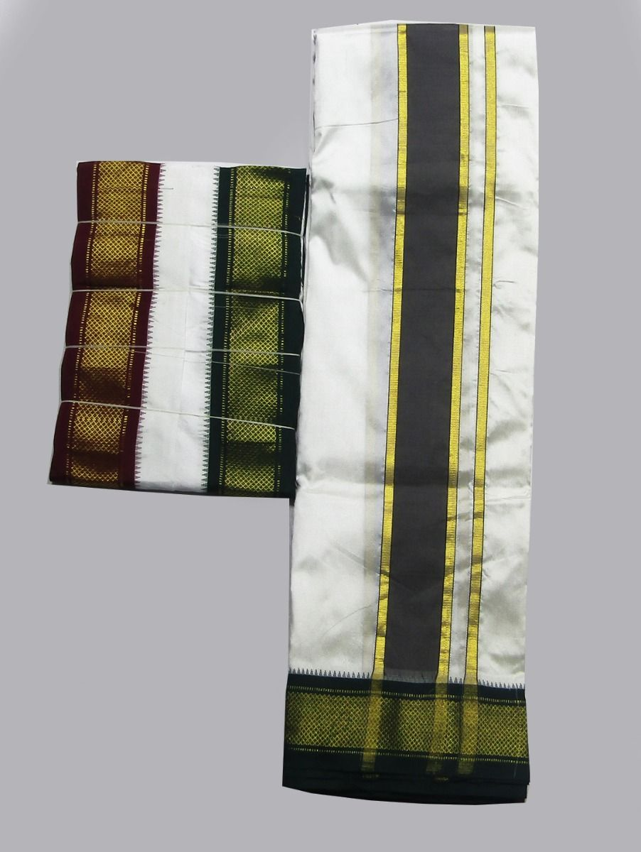 Vivaha Traditional Pure Silk Fancy Border Dhoti