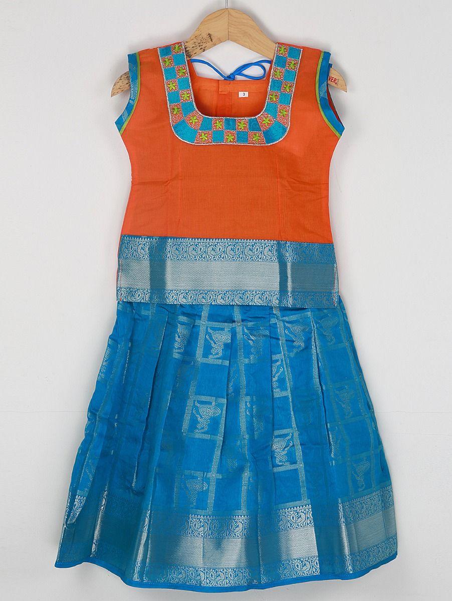 Girls Ready Made Art Silk Pavadai Set - 85ONLGPP5017