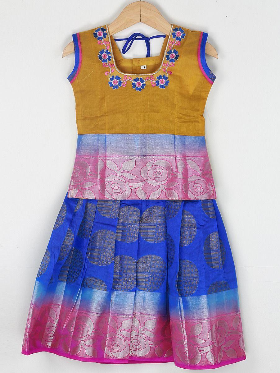 Girls Ready Made Art Silk Pavadai Set - 85ONLGPP5018