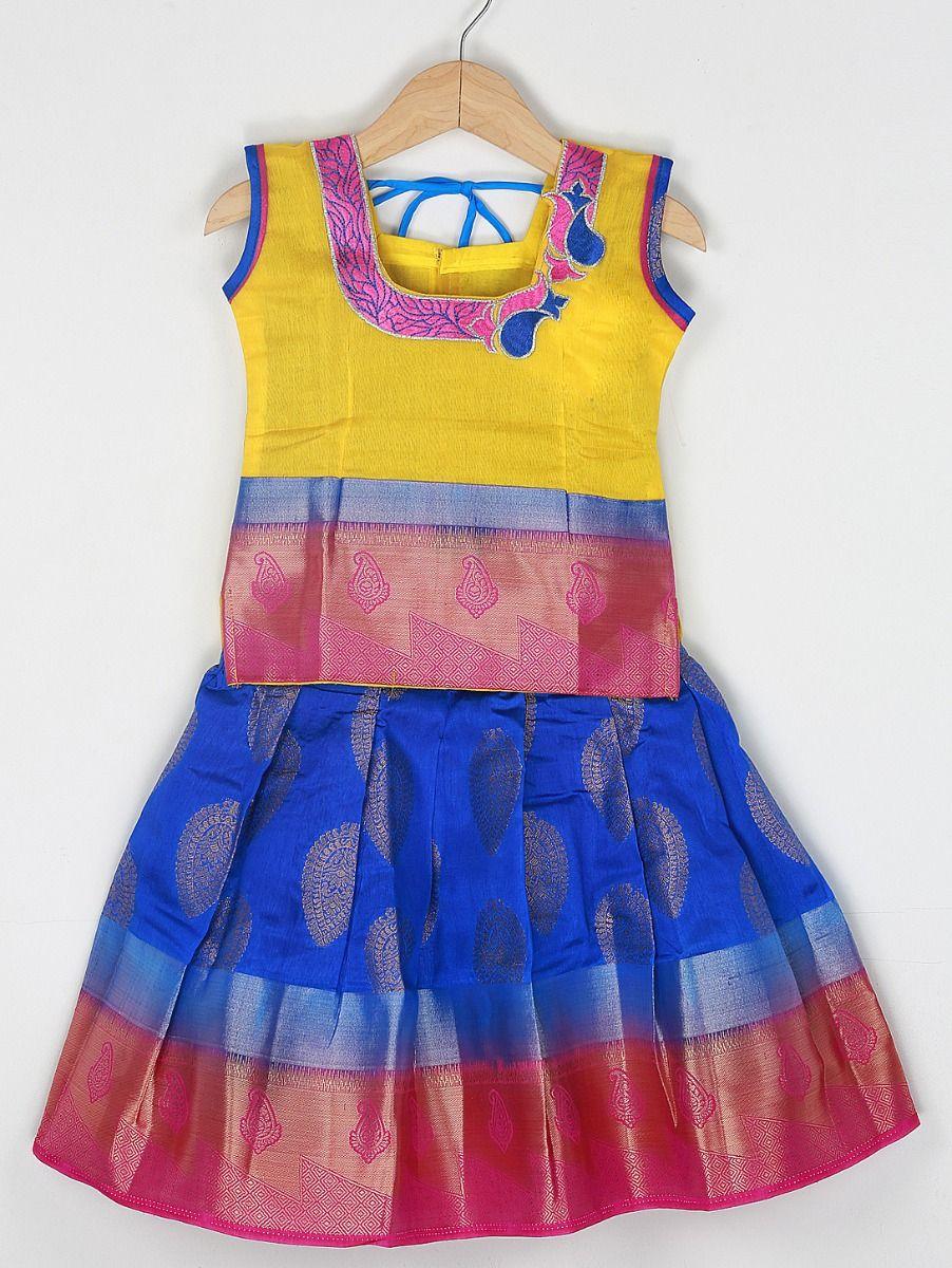 Girls Ready Made Art Silk Pavadai Set - 85ONLGPP5020