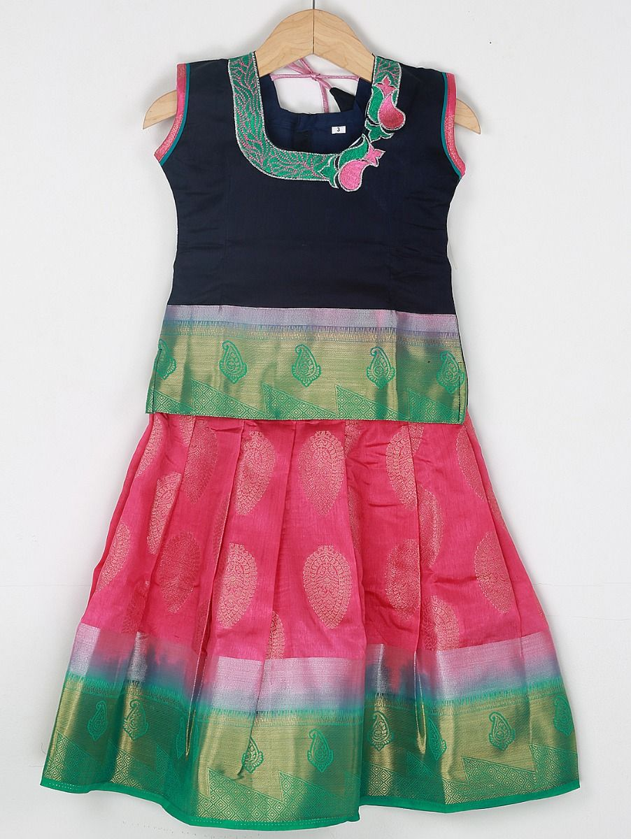 Girls Ready Made Art Silk Pavadai Set - 85ONLGPP5021