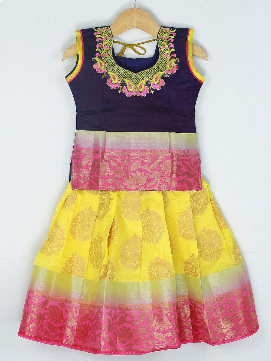 Girls Ready Made Art Silk Pavadai Set - 85ONLGPP5022