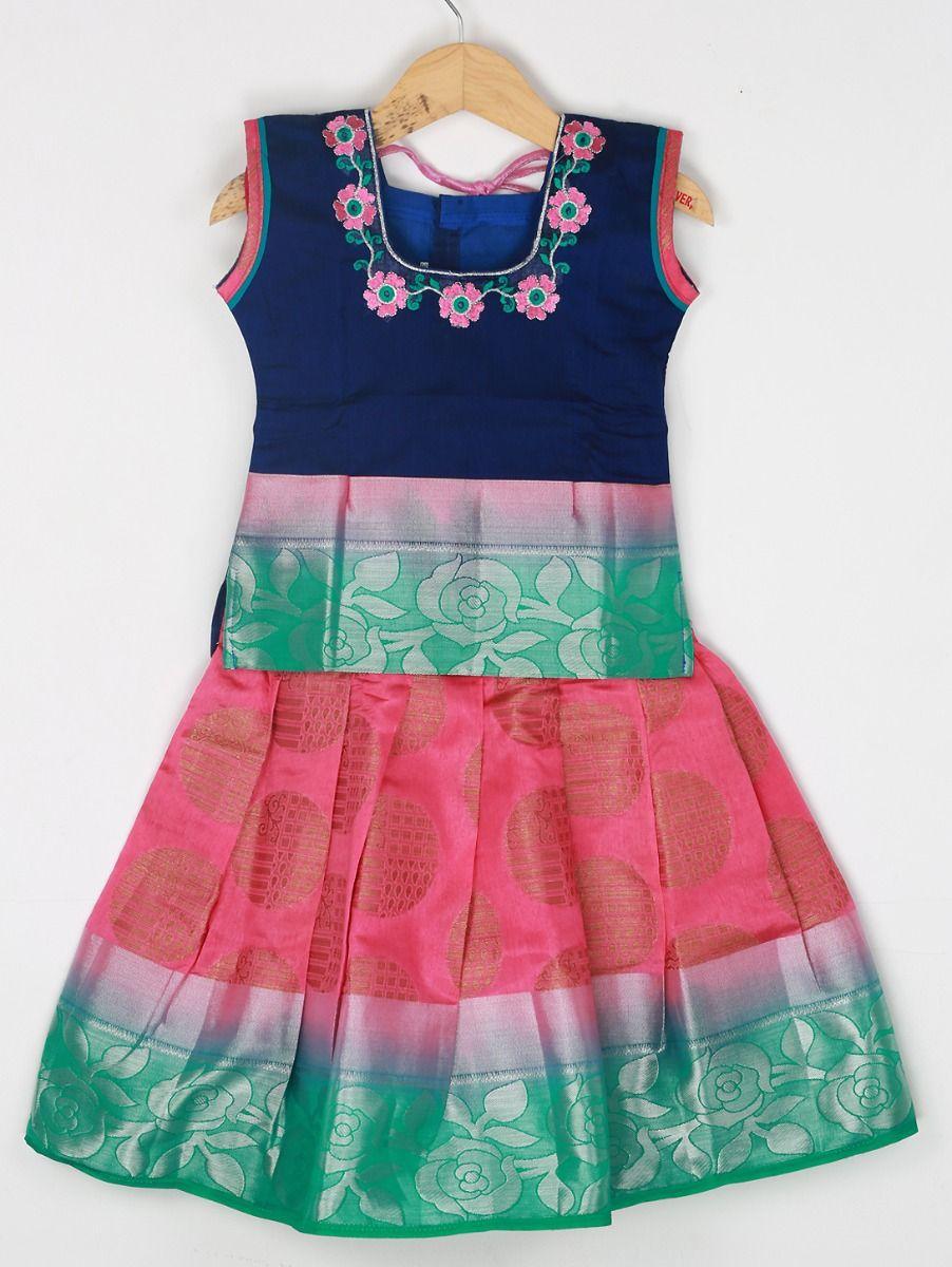 Girls Ready Made Art Silk Pavadai Set - 85ONLGPP5025