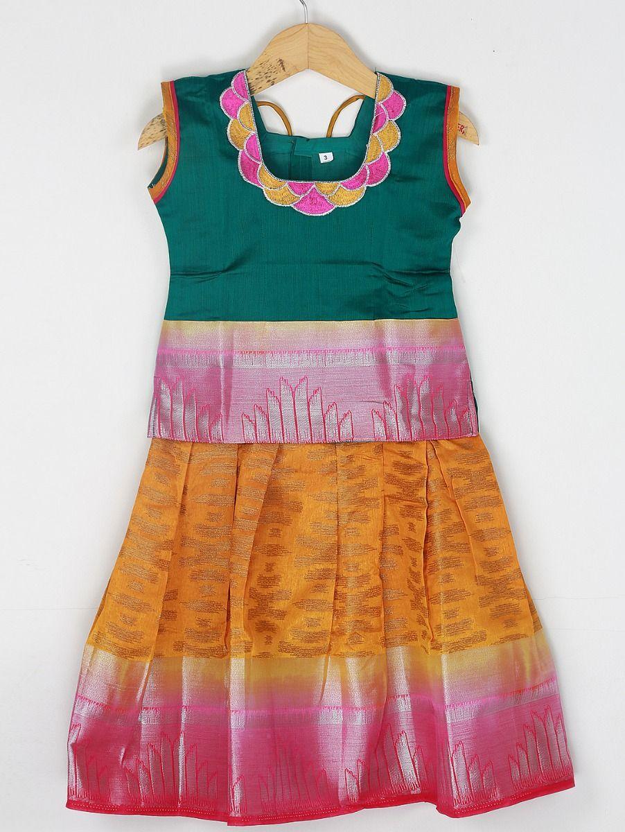 Girls Ready Made Art Silk Pavadai Set - 85ONLGPP5023