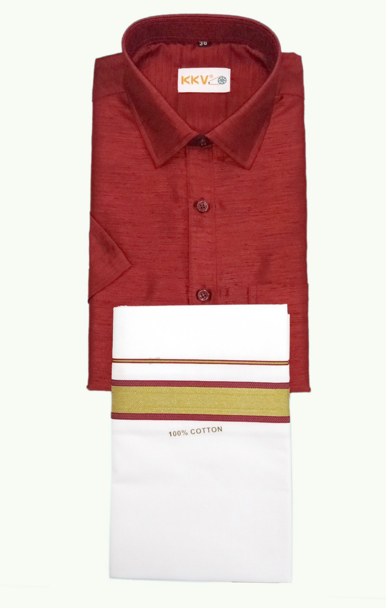 bab32da0 Slub Silk Shirt with Cotton Dhoti set-KKV05B2