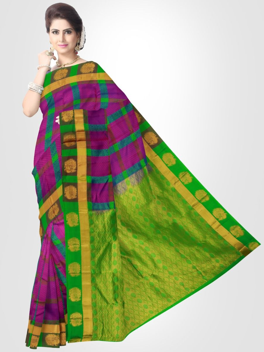 Bairavi Traditional Silk Saree - Violet- BTSS1004