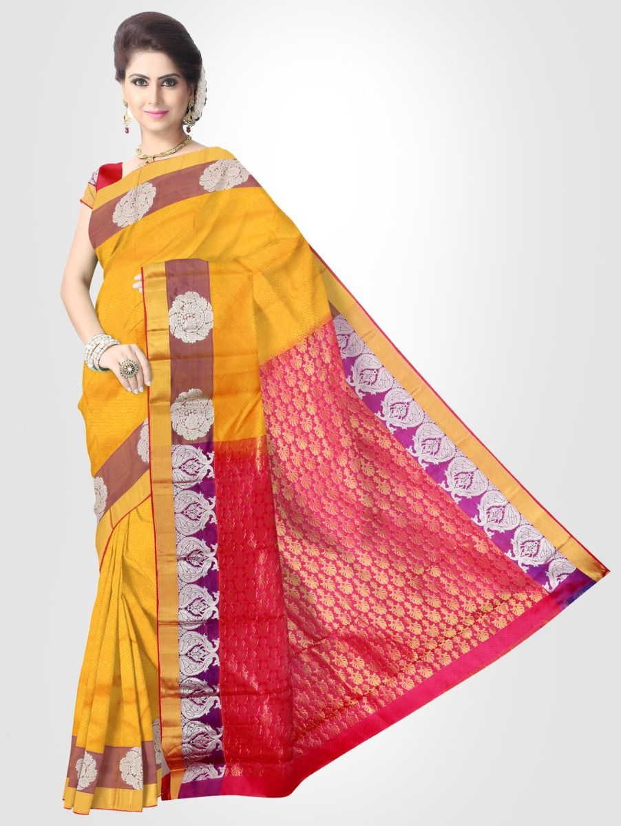 Bairavi Traditional Silk Saree - Yellow - BTSS1008