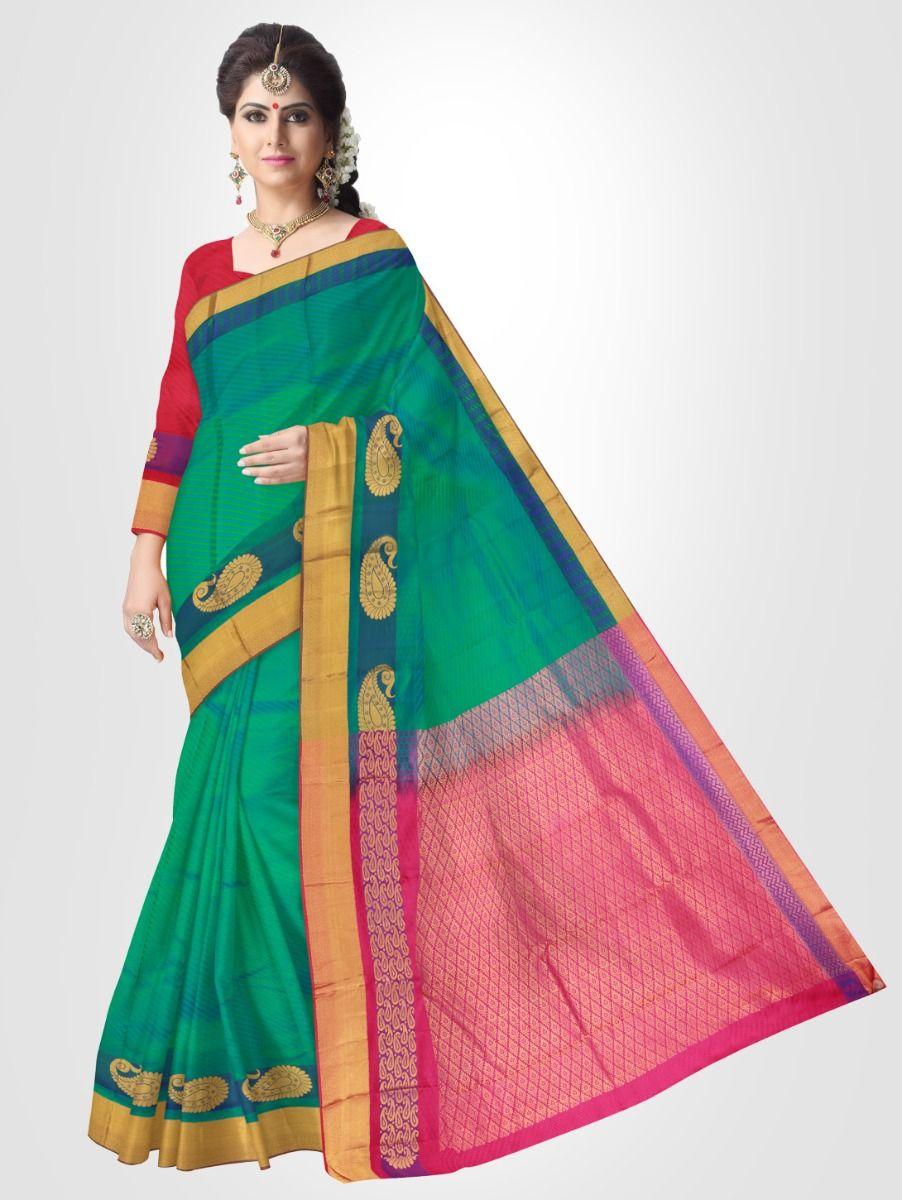 Bairavi Traditional Silk Saree - Green - BTSS1010