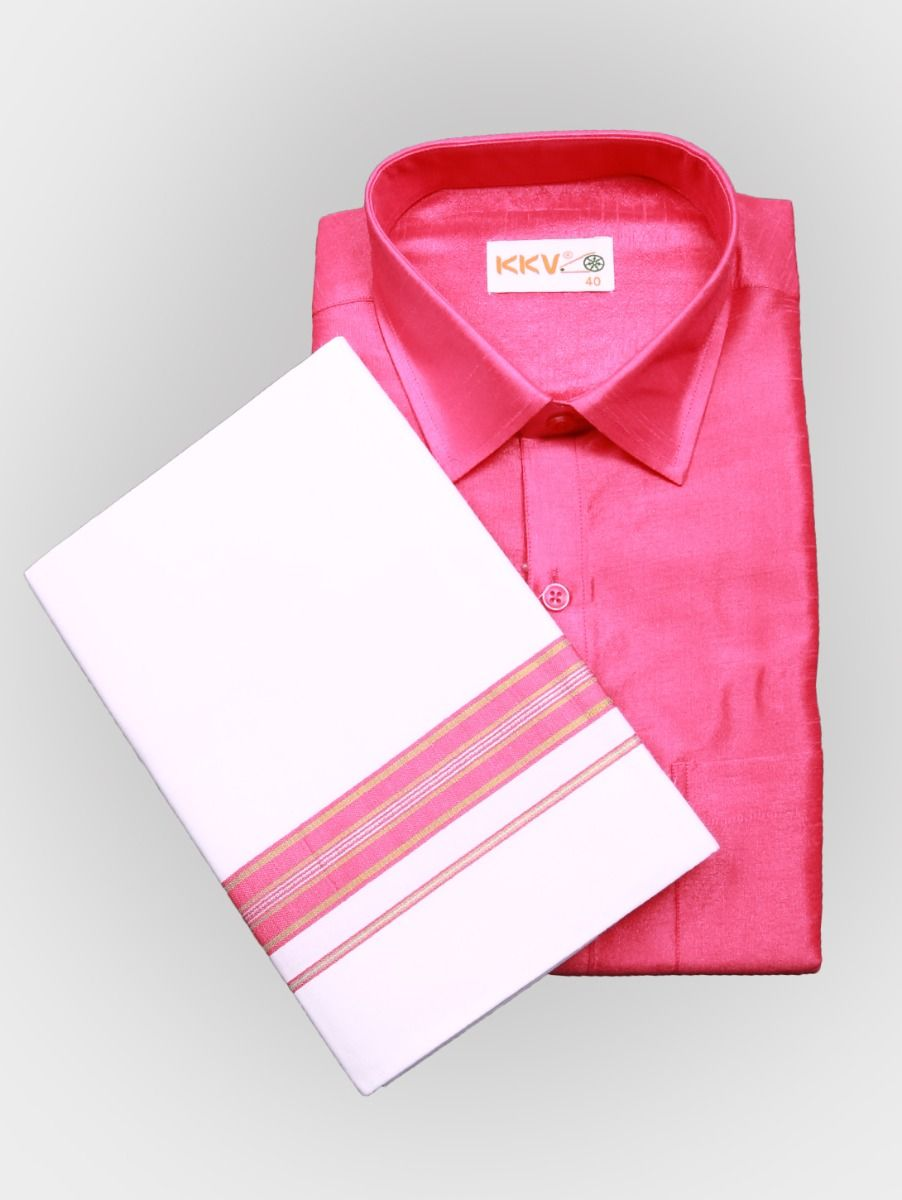 Art Silk Shirt with Cotton Dhoti Set - Pink-KKVC101