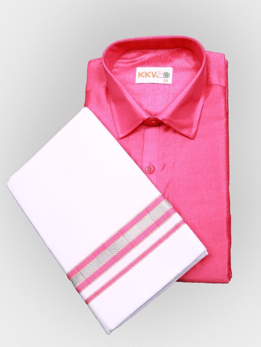 Art Silk Shirt with Cotton Dhoti Set - Pink-KKVC102