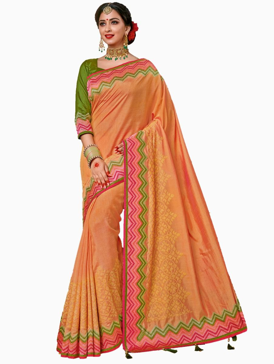 Party wear Sana Silk Orange Saree - PWSS102