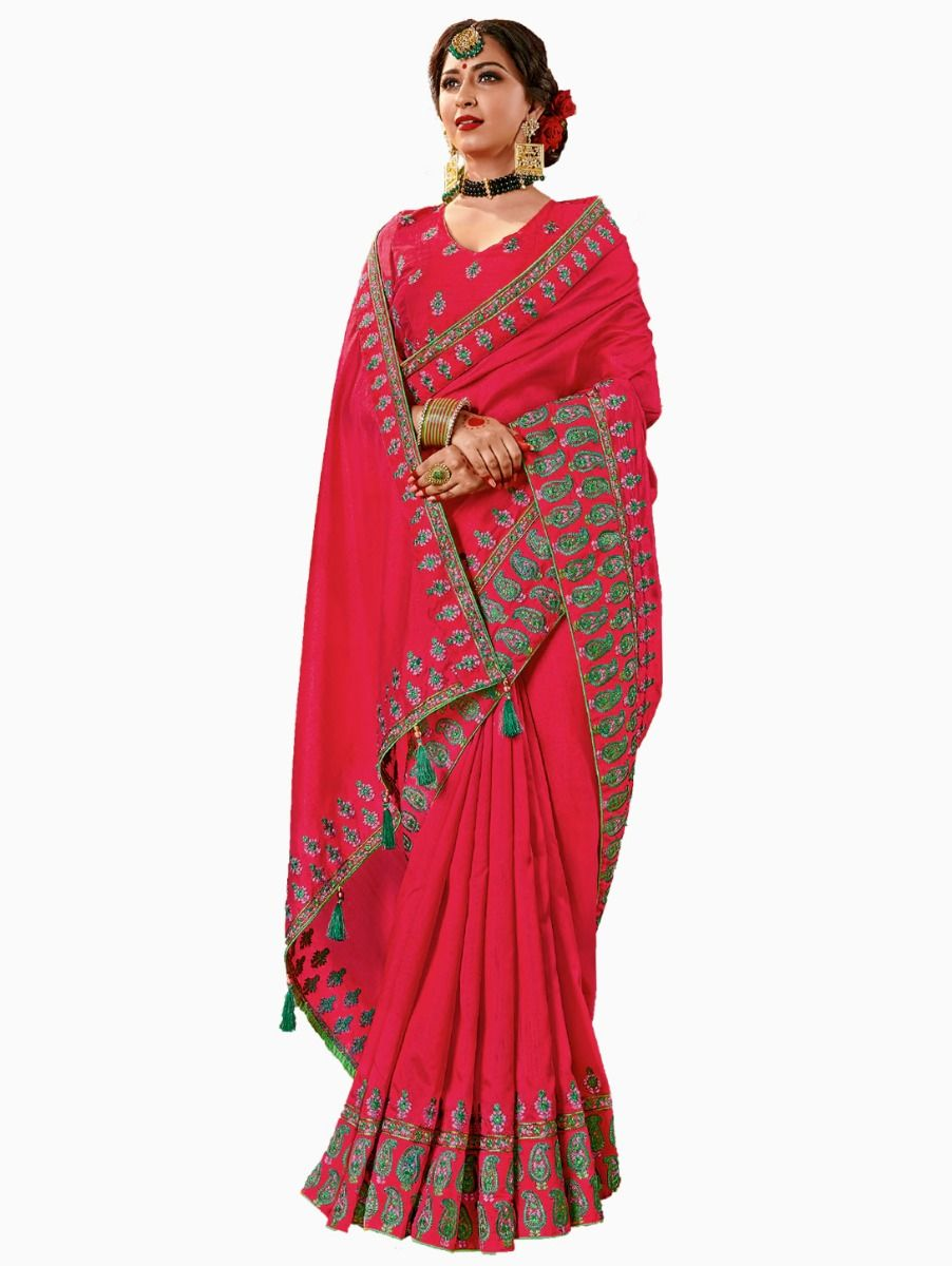 Party wear Sana Silk Magenta Saree - PWSS103