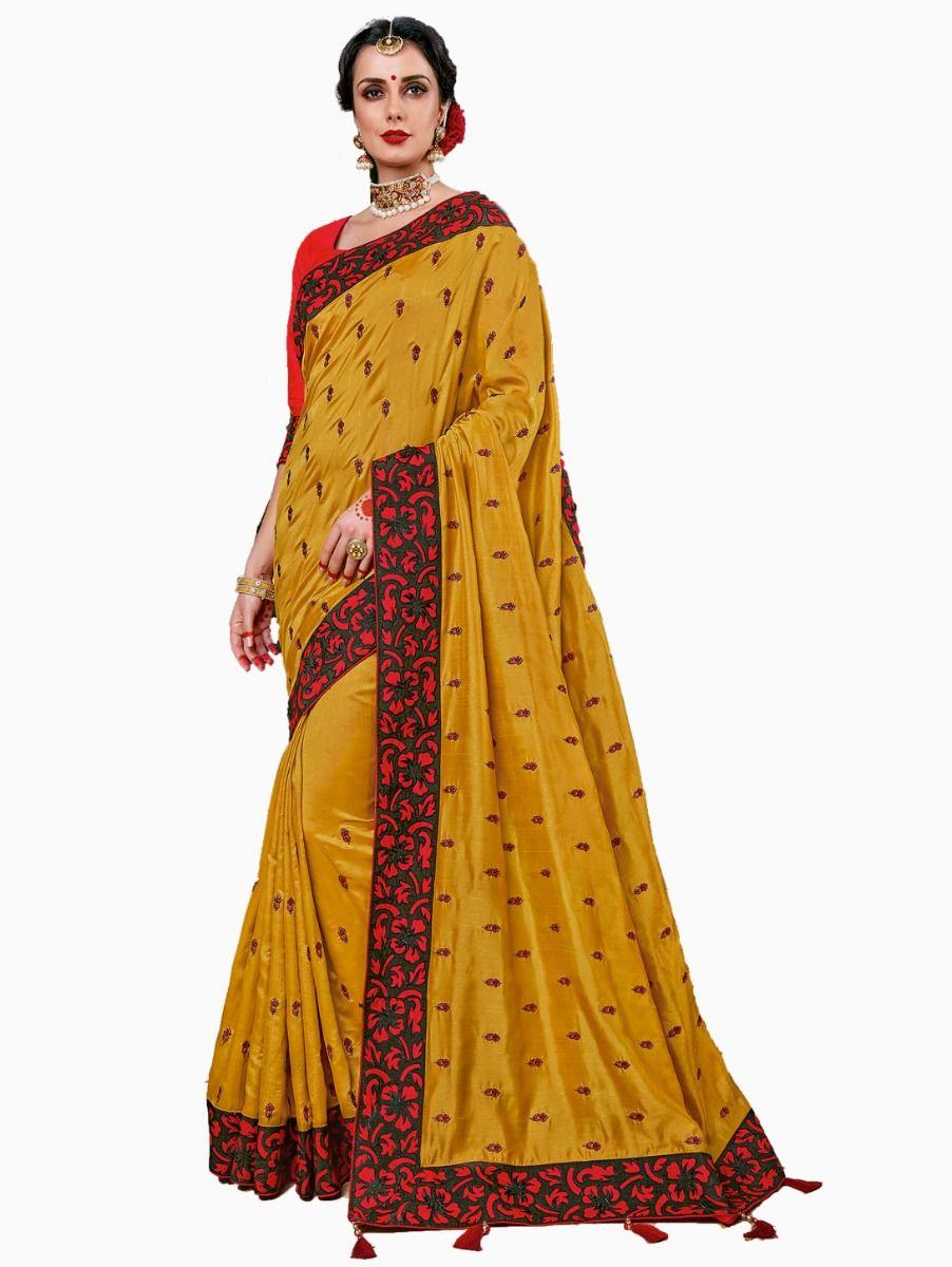 Party wear Sana Silk Yellow Saree - PWSS107
