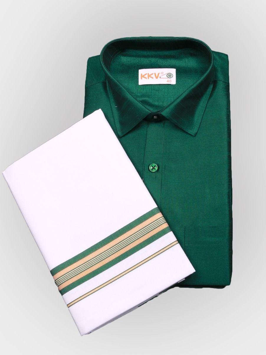 Art Silk Shirt with Cotton Dhoti Set - Green-KKVC108