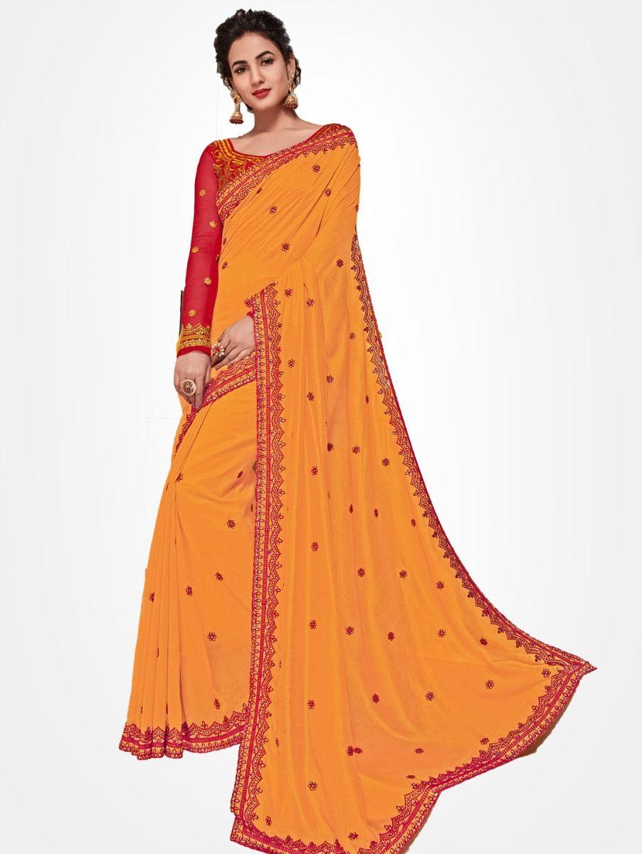 Party wear Orange saree  - PWSE1113