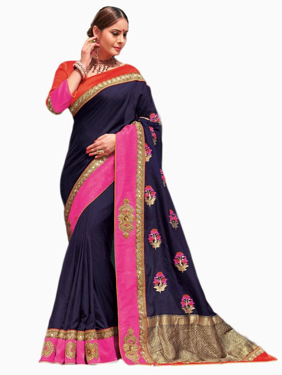 Party wear Sana Silk Blue Saree - PWSS115