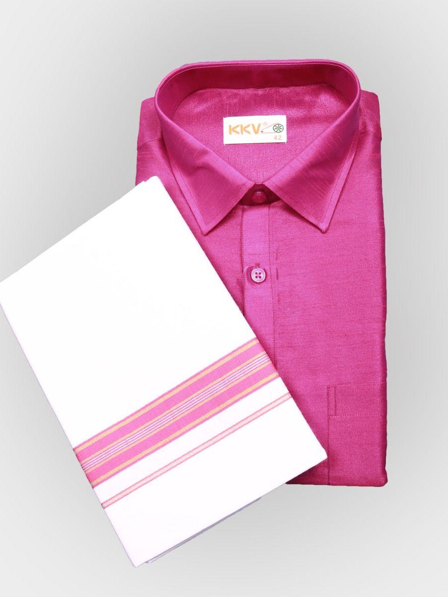 Art Silk Shirt with Cotton Dhoti Set - Pink-KKVC117