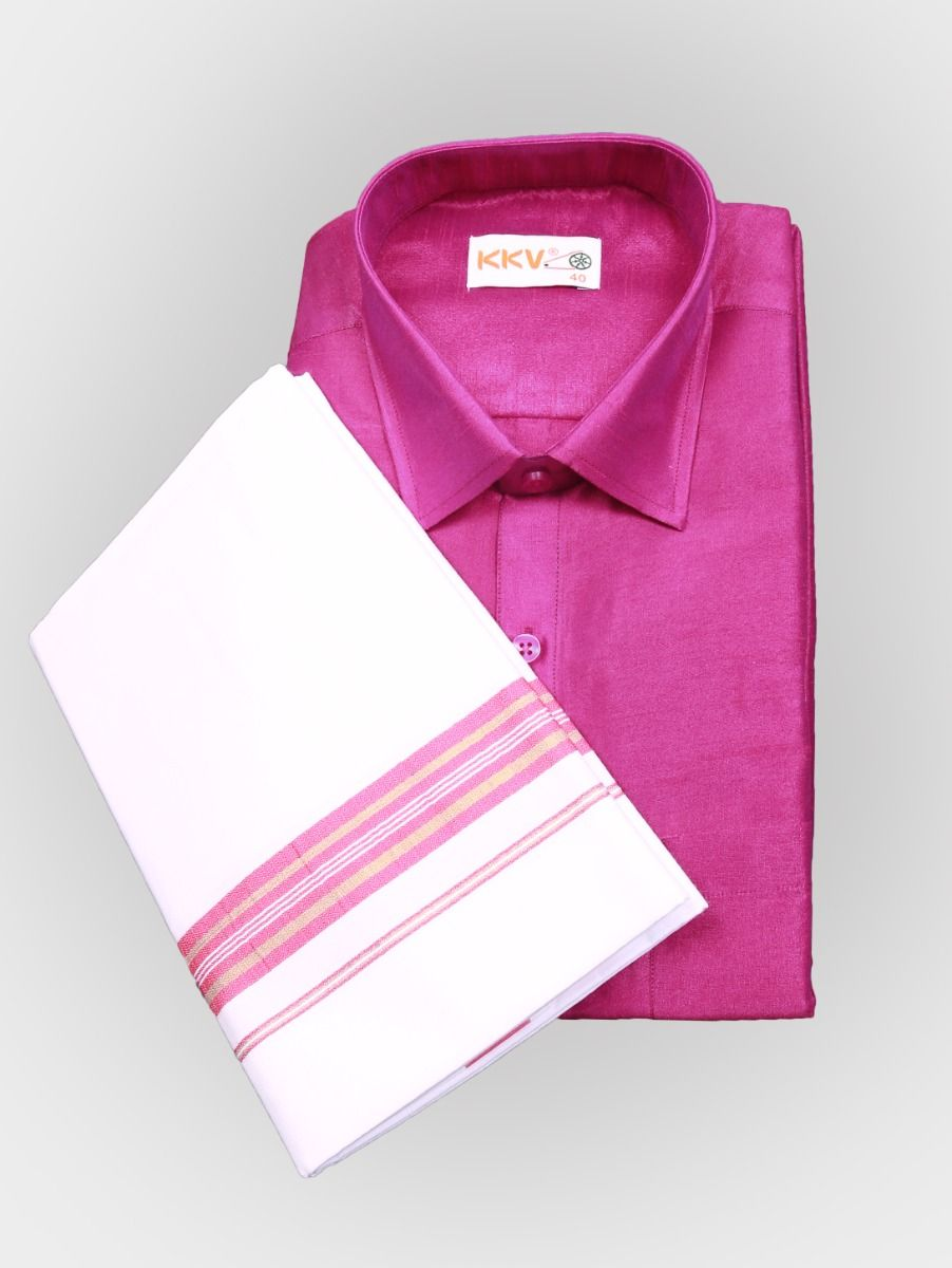 Art Silk Shirt with Cotton Dhoti Set - Pink-KKVC118
