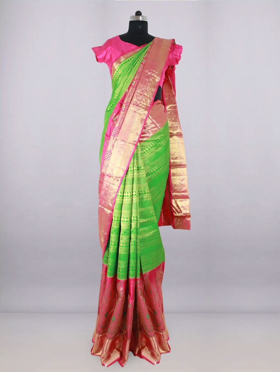 Vivaha Bridal Green with Pink Pure Silk Saree