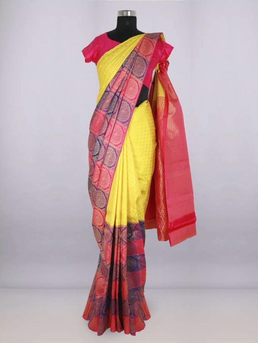Vivaha Bridal Yellow with Pink Pure Silk Saree