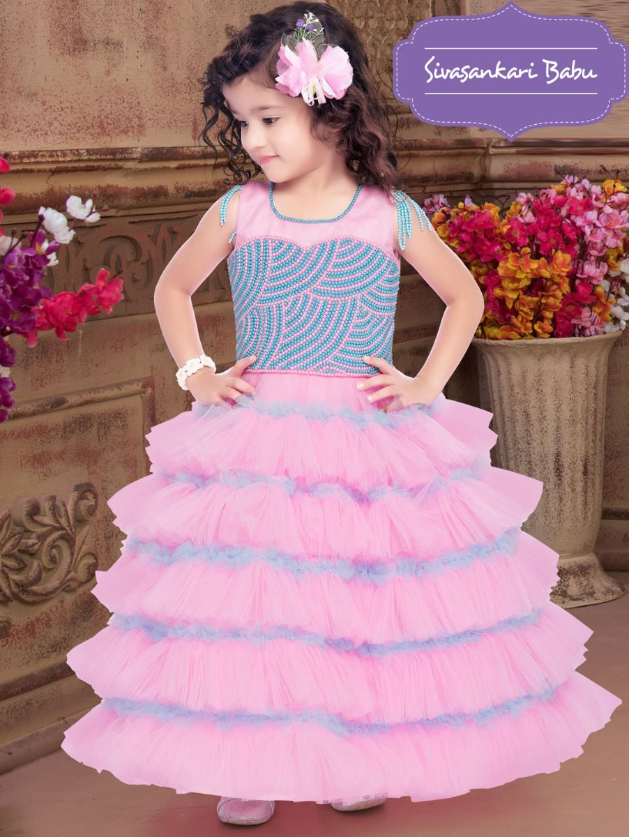 Sivasankari Babu Exclusive Girls Netted Long Frock With Patch Work - TUPMIA3093112