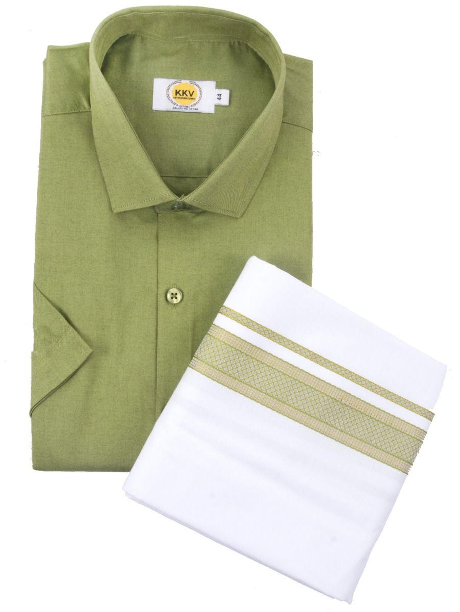 KKV Cotton Half Sleeve Shirts & Fancy Border Dothi Set - ONLKKVC2001