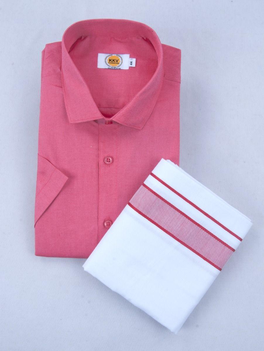 KKV Cotton Half Sleeve Shirts & Fancy Border Dothi - ONLKKVC2002