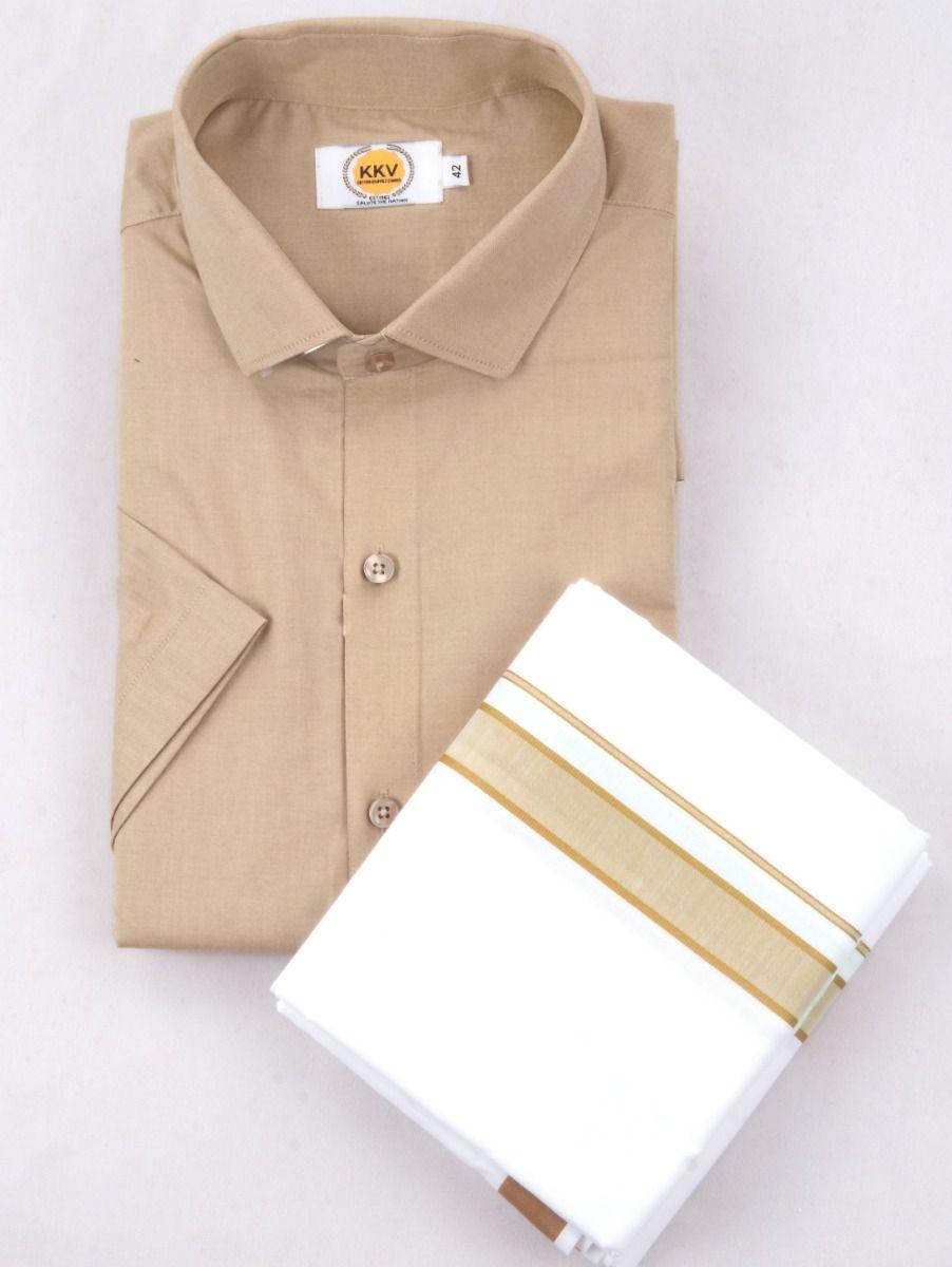 KKV Cotton Half Sleeve Shirts & Fancy Border Dothi - KKVC2003