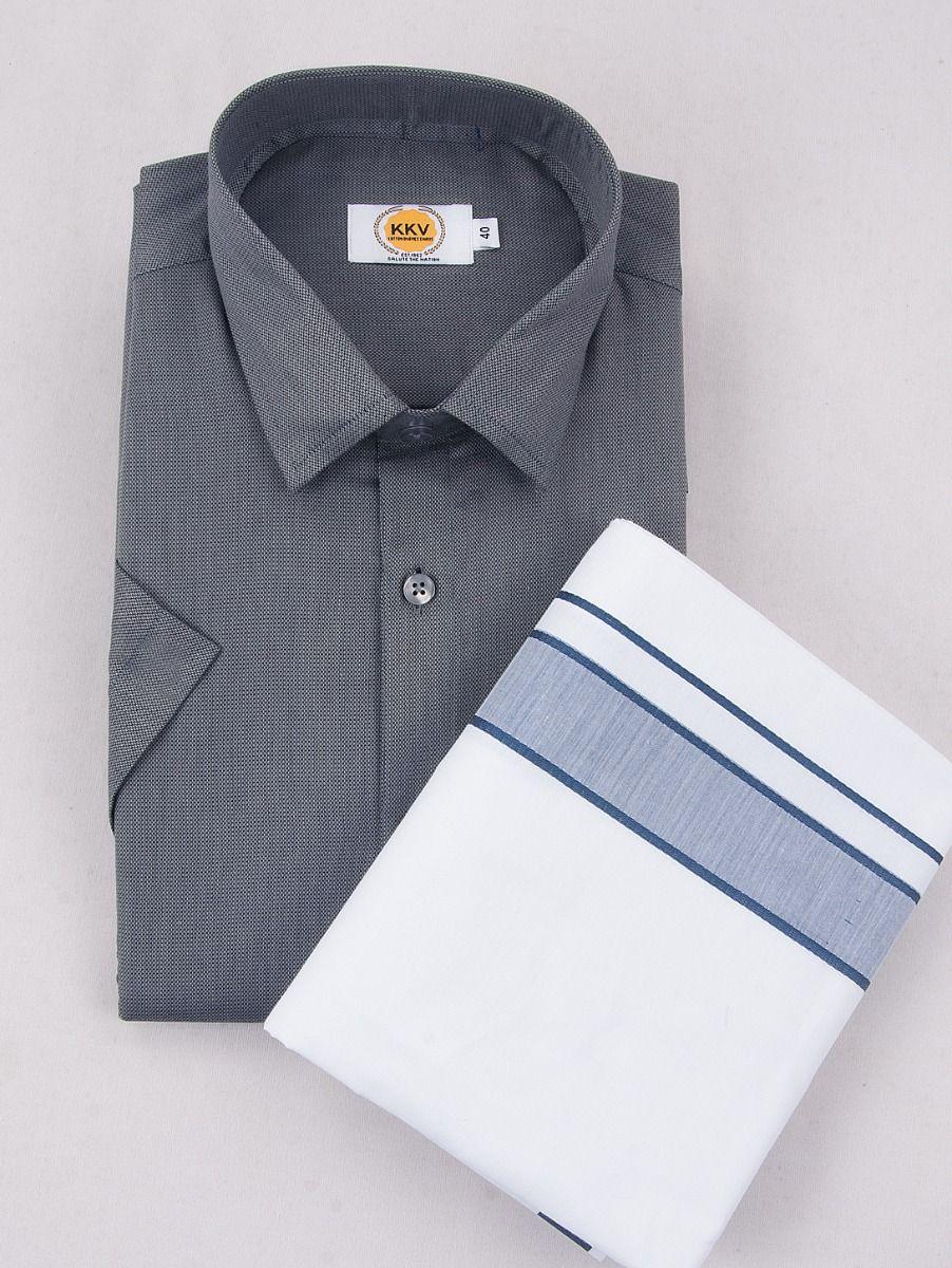 KKV Cotton Half Sleeve Shirts & Fancy Border Dothi - ONLKKVC2005