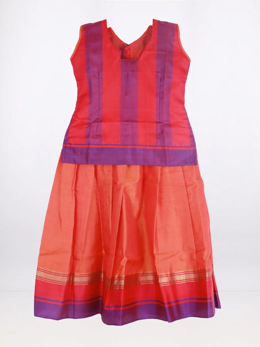 Fancy Art Silk Pattu Pavadai - Multi - ASPP2008