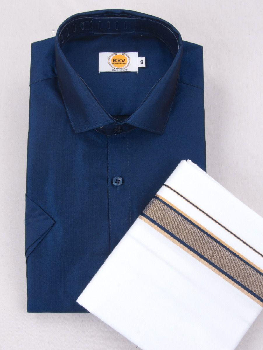 KKV Cotton Half Sleeve Shirts & Fancy Border Dothi - ONLKKVC2009