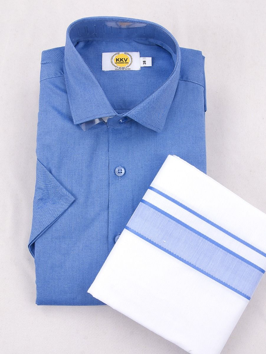 KKV Cotton Half Sleeve Shirts & Fancy Border Dothi - ONLKKVC2010