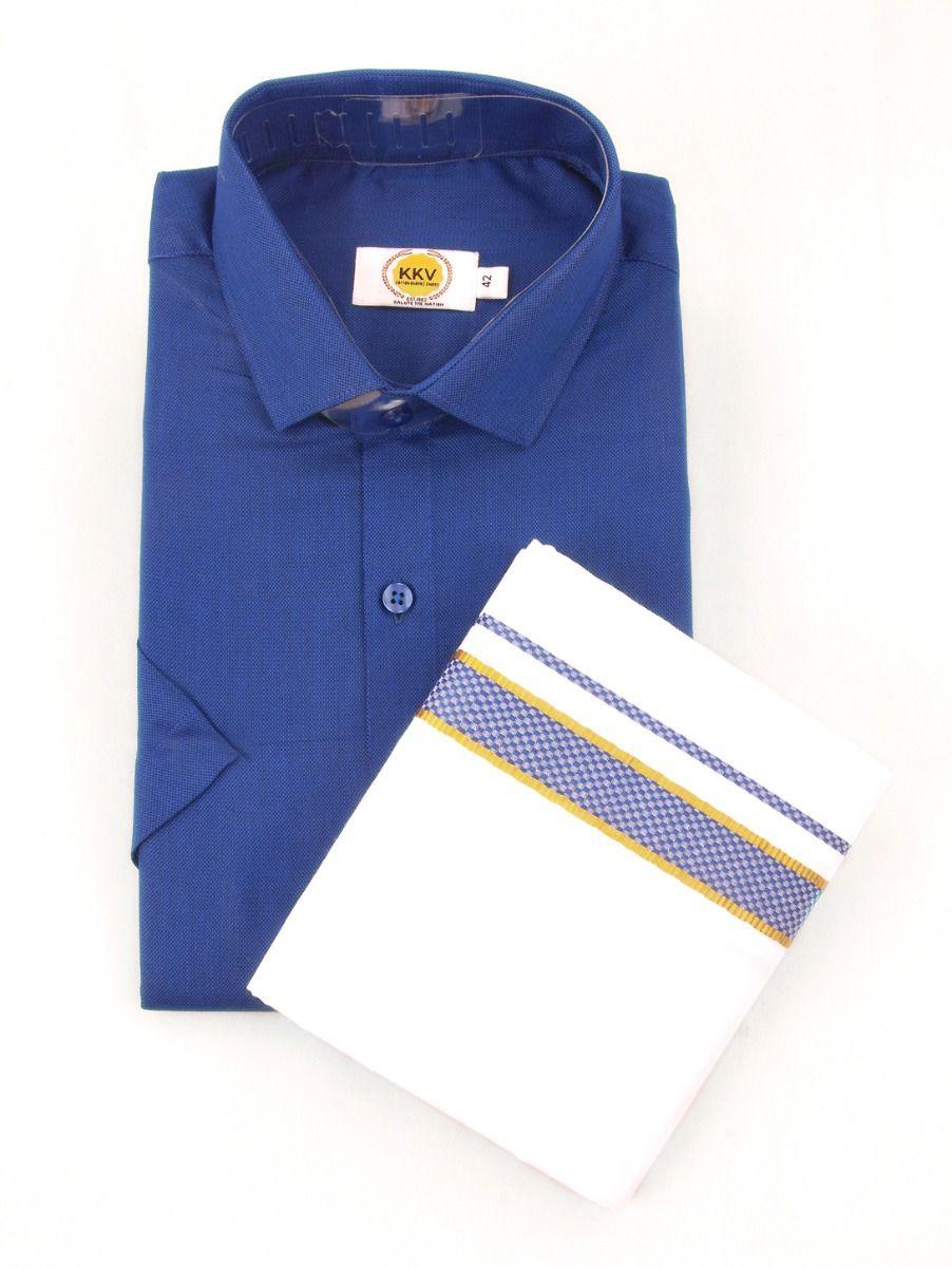 KKV Cotton Half Sleeve Shirts & Fancy Border Dothi - ONLKKVC2012