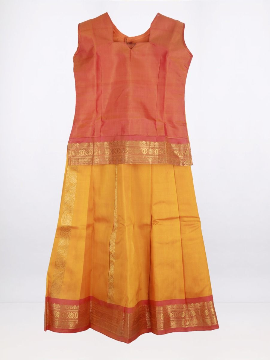 Fancy Art Silk Pattu Pavadai - Pink with Yellow - ASPP2019