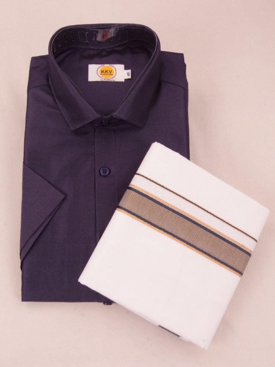 KKV Cotton Half Sleeve Shirts & Fancy Border Dothi - ONLKKVC2019