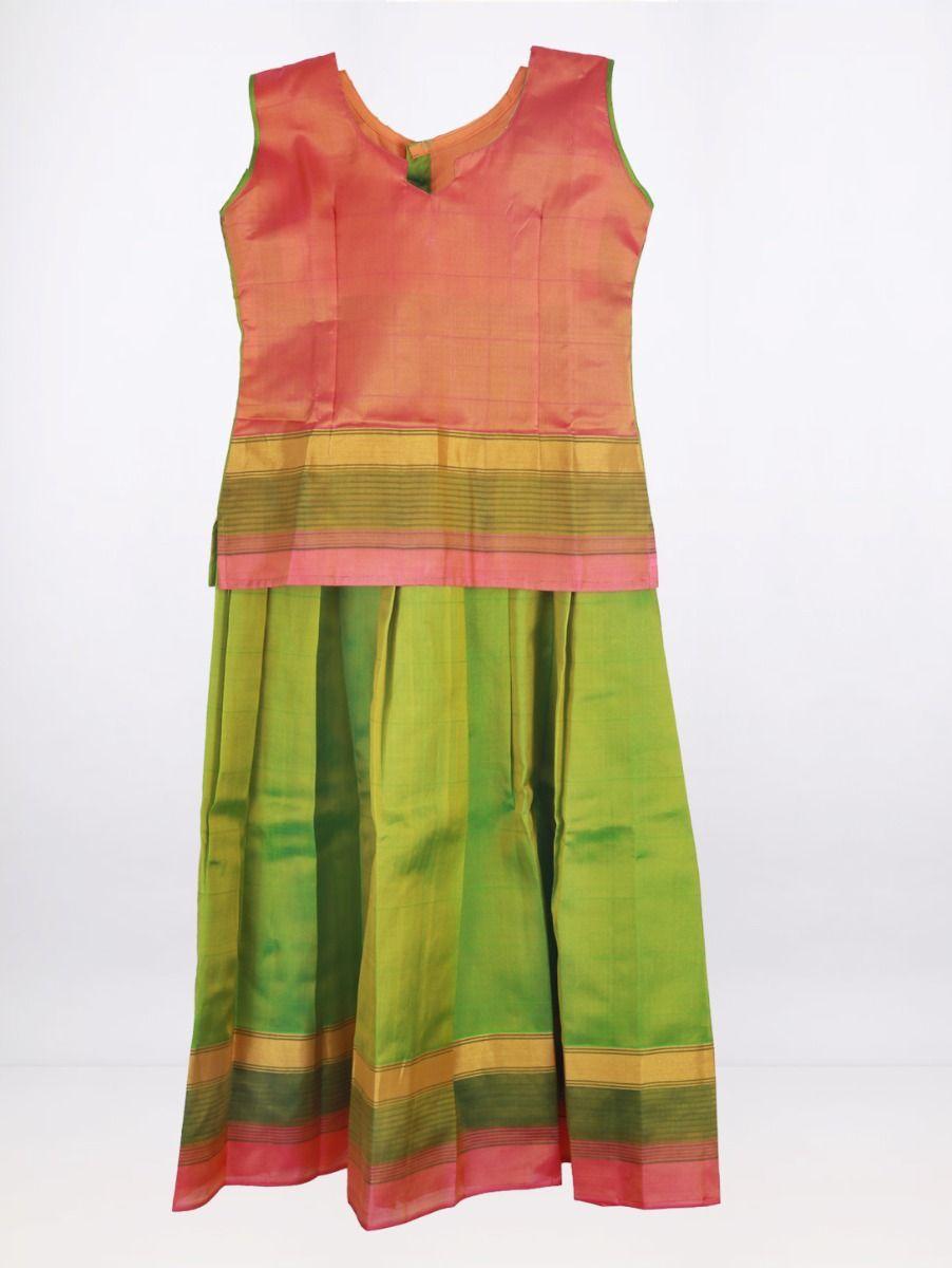 Fancy Art Silk Pattu Pavadai - Multi - ASPP2021