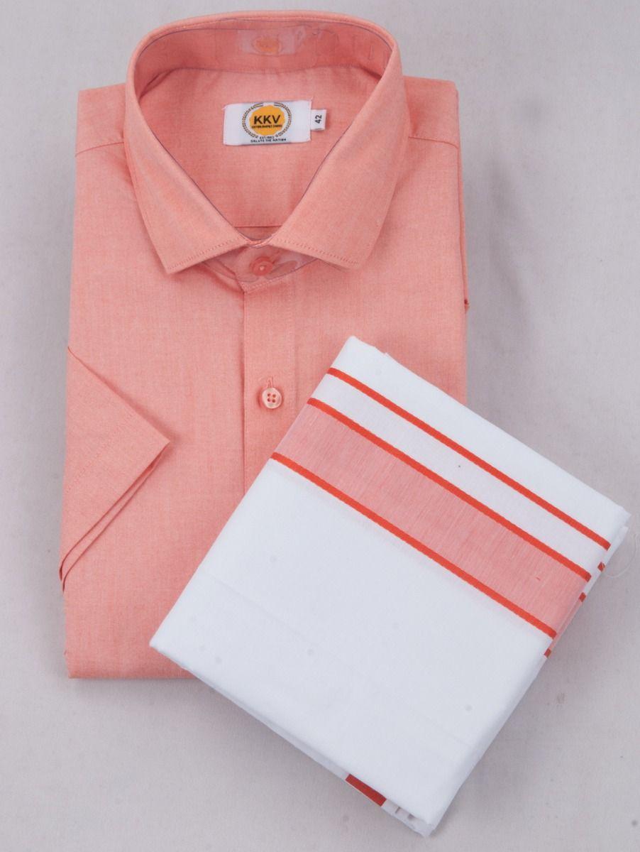 KKV Cotton Half Sleeve Shirts & Fancy Border Dothi - ONLKKVC2022