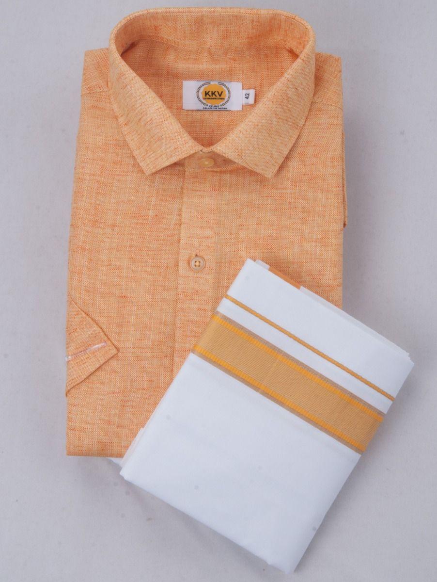 KKV Cotton Half Sleeve Shirts & Fancy Border Dothi - ONLKKVC2023