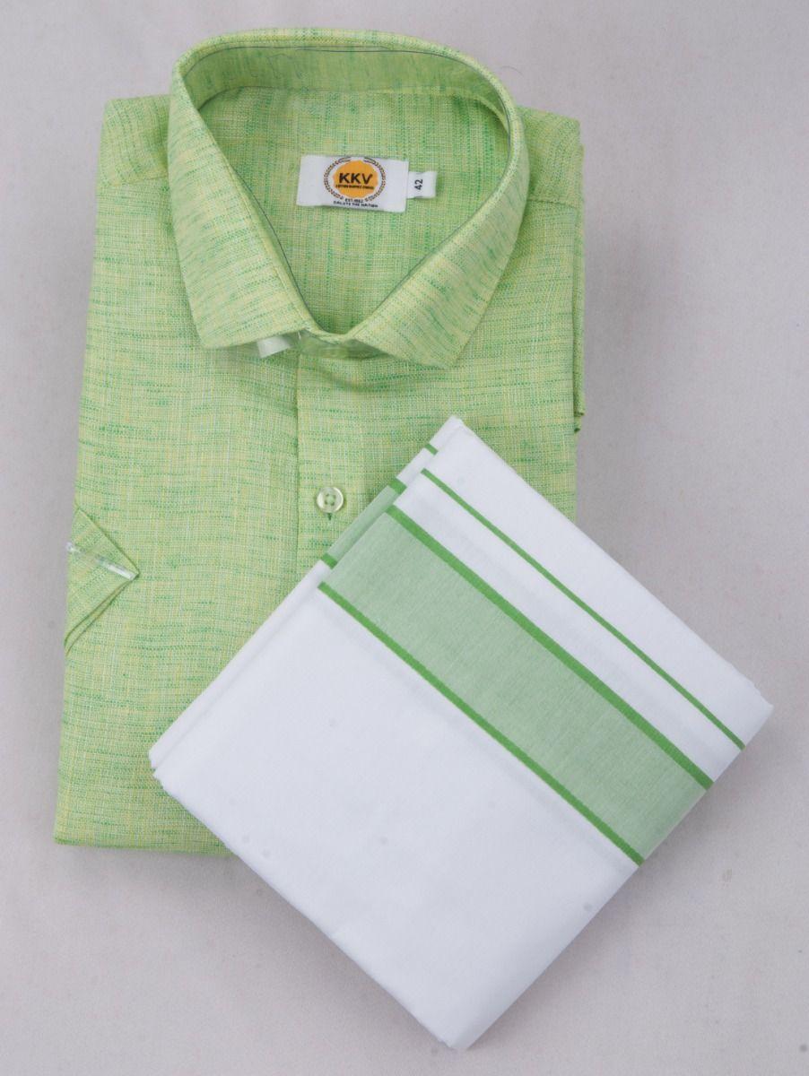 KKV Cotton Half Sleeve Shirts & Fancy Border Dothi - ONlKKVC2027