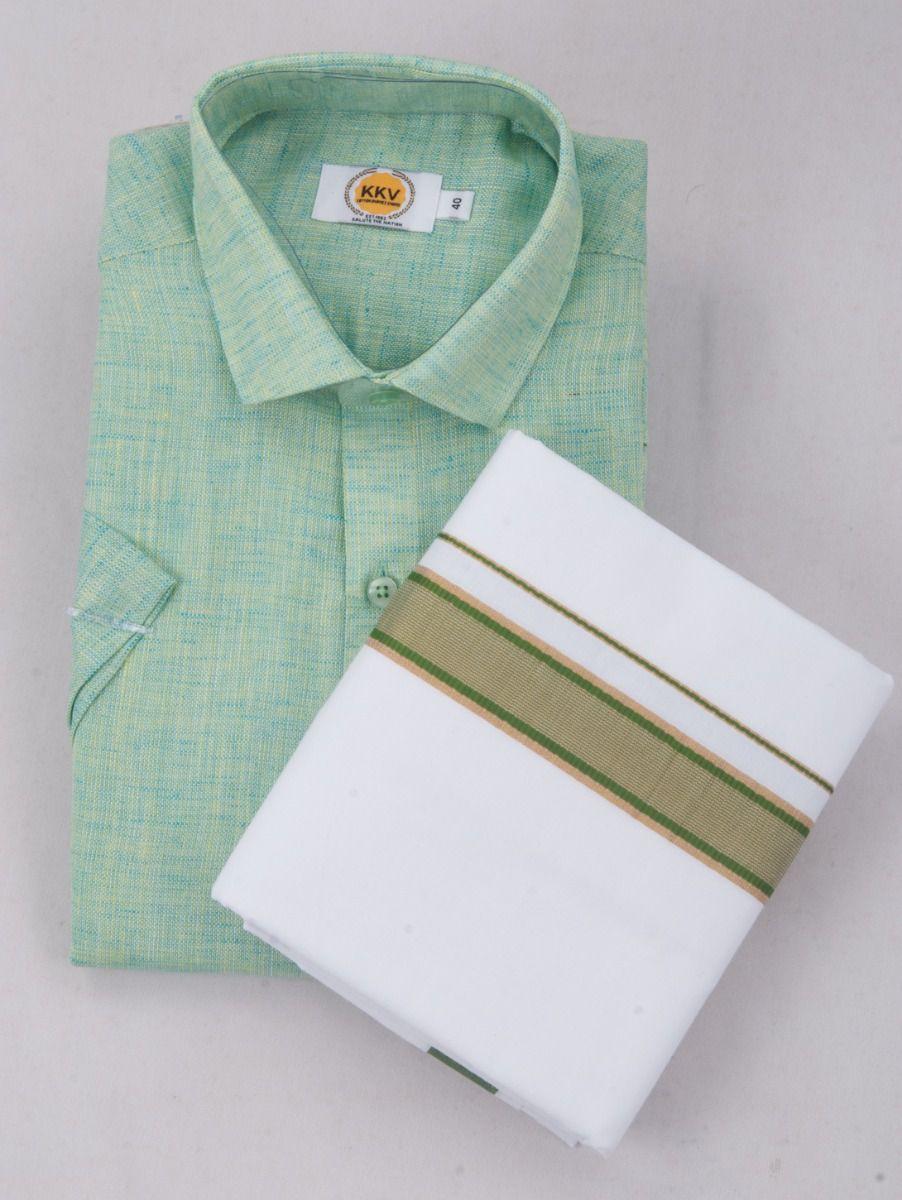 KKV Cotton Half Sleeve Shirts & Fancy Border Dothi - ONLKKVC2028