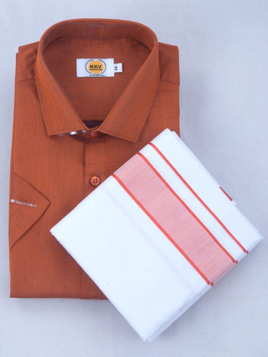 KKV Cotton Half Sleeve Shirts & Fancy Border Dothi - ONLKKVC2029
