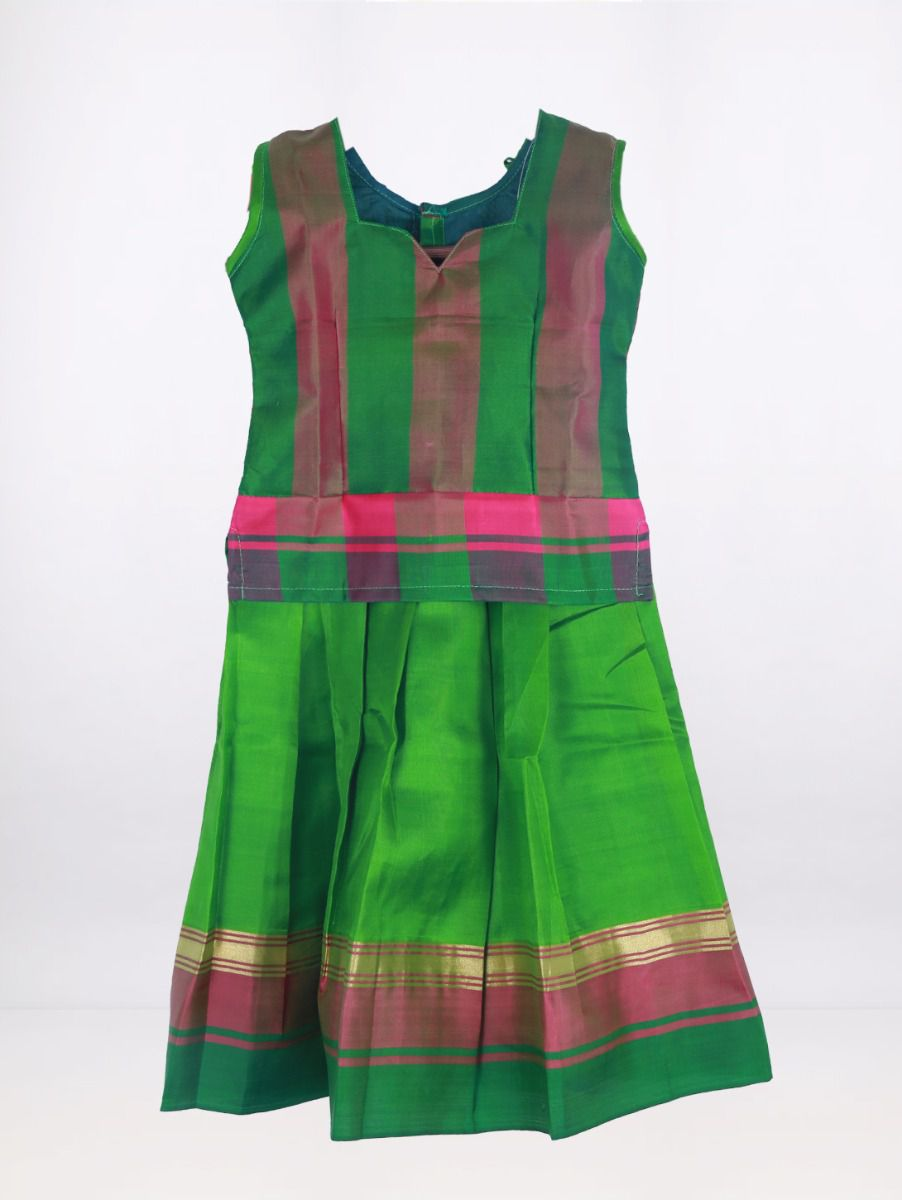 Fancy Art Silk Pattu Pavadai - Green - ASPP2031